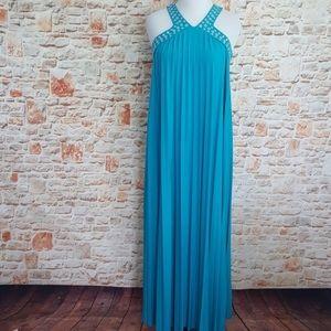 Blue Michael Kors pleated maxi dress